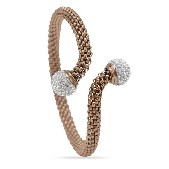 14 Karat Rose Gold Plated Stainless Steel Bracelet with Crystal Beads