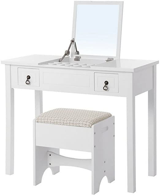 Vanity Makeup Table Set For Women White Modern With Flip Top Mirror Cushioned Stool Nightstand Bedr Make Up Desk Vanity Dressing Table Set Wooden Makeup Vanity