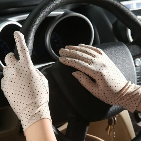 Women Summer Car Driving Lace Full Finger Thin Sun Protection Gloves Pair