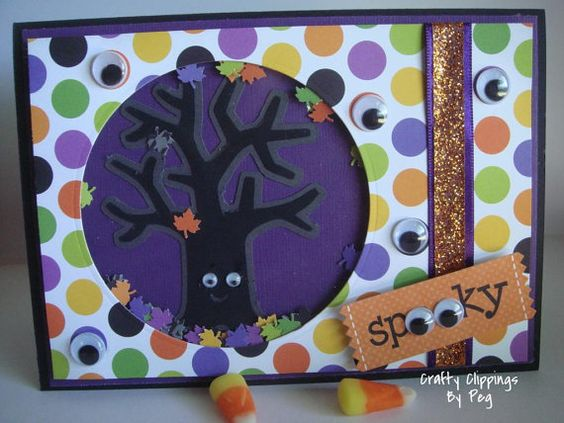 Shaker CardHalloween Card by CraftyClippingsbyPeg on Etsy