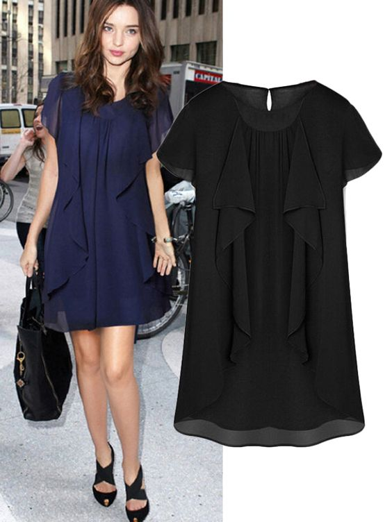 Solid Ruffle Plus Size O Neck Chiffon Dress Shops