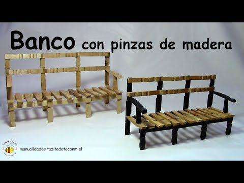 Banco con pinzas de madera manualidades bench or sofa - Manualidades con madera ...