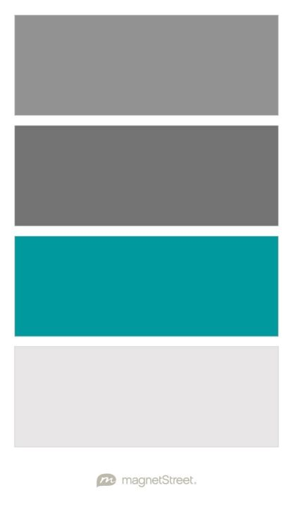 Classic Gray, Charcoal, Teal, and Winter White Wedding Color Palette - custom color palette created at MagnetStreet.com