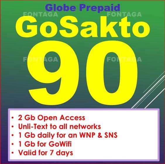 Globe Prepaid GoSakto90 | Pa-Load Online ReLoading Station | Fontaga