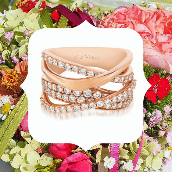 LeVian Strawberry Gold with Vanilla Diamonds Stacked Ring, Exclusively at Harry Ritchie's Jewelers