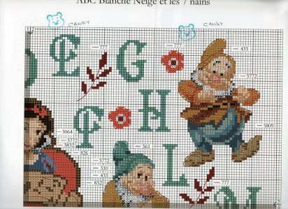 ABC's -Snow White  Dwarfs 4 of 6