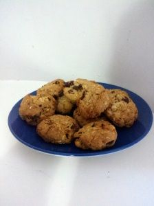 Mound Bites (aka dark chocolate and coconut cookies). Used Sweet and Low instead of sugar to cut the calories and highlight the coconut flavor.