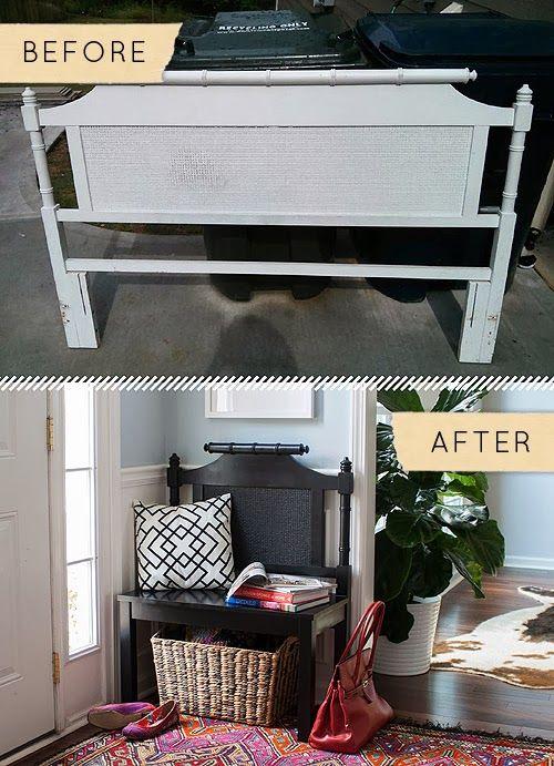 blog de decoração - Arquitrecos: Banco feito de cabeceira reciclada.