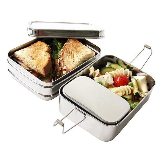 ECOlunchbox Stainless Steel Rectangular 3-in-1 Lunch Box | The Container Store