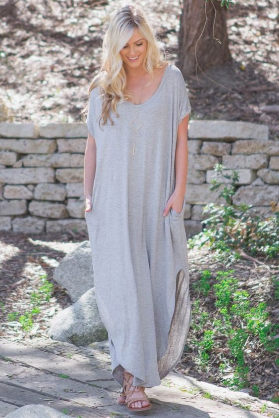 Heather Grey Basic V Neck Maxi Dress