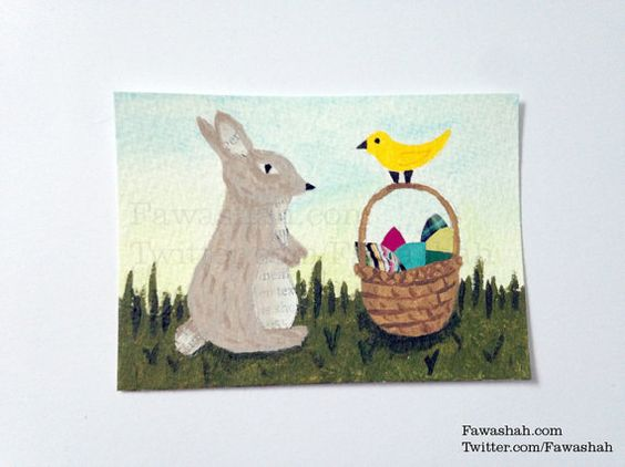SALE  Easter Original ACEO OOAK Painting Mixed Media Cute by Fawa1, $9.00