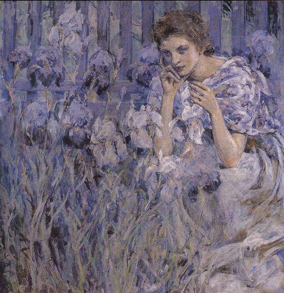 Robert Reid (American 1862–1929) {Impressionism, Muralist] Fleur de Lis, 1900.