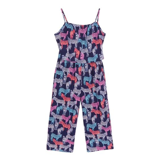 From bluezoo's fantastic range of children's clothing, this culotte style jumpsuit will make a cute addition to a girl's smart-casual wardrobe. In navy with a colourful all over zebra print, this staple piece features a layered top and an elasticated neck and waist for added comfort.