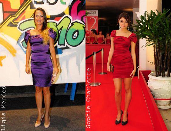 Quem leva a melhor no look de ombrinhos? Ligia Mendes ou Sophie Charlotte? Mais longo combinado com sapato nude ou curtinho combinado com scarpin preto?