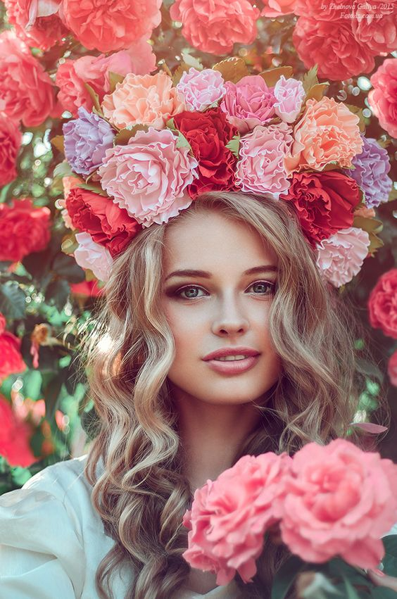 Photograph of beautiful Russian girl with a flower crown ...