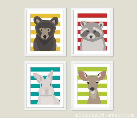 Woodland Nursery Animals Art Prints Nursery Wall Art by AldariArt