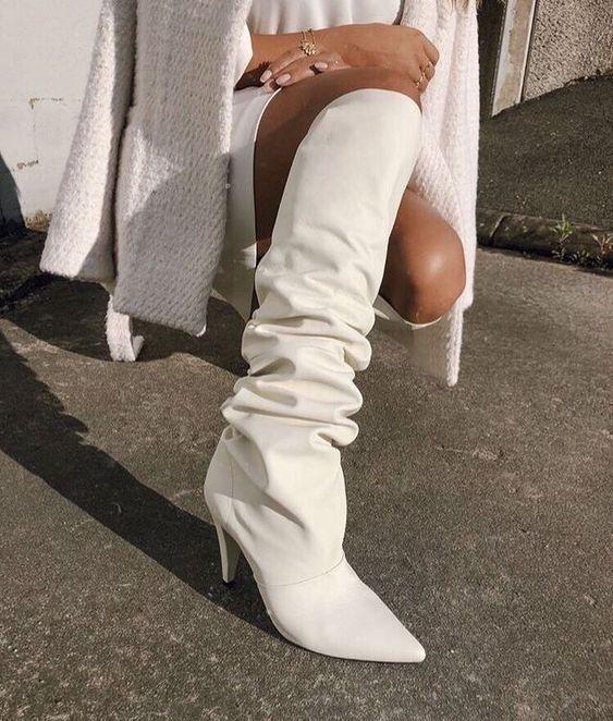 Shoes | White boots | Lange laarzen | Hoge laarzen | Witte