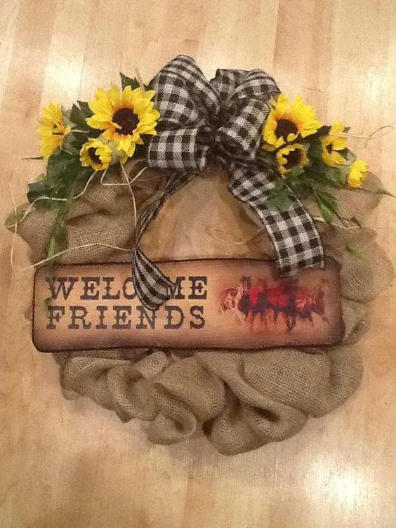 Country Burlap Western Wreath