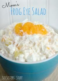 Six Sisters Mom's Frog Eye Salad is one of our favorite salads and it feeds a crowd!