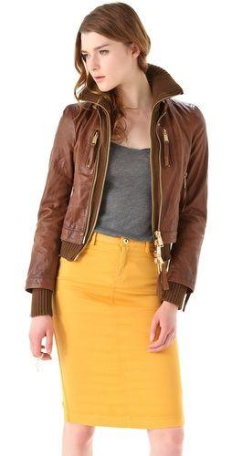 DSQUARED2 Kinky Knit Leather Jacket