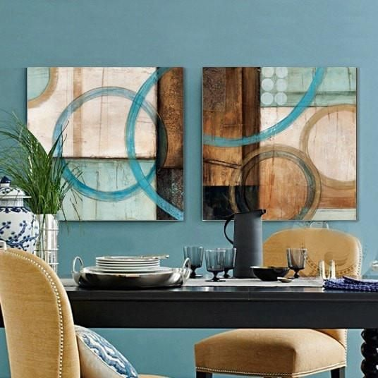 Modern Blue Brown Circles Abstract Painted Canvas Wall Art 2 Sizes