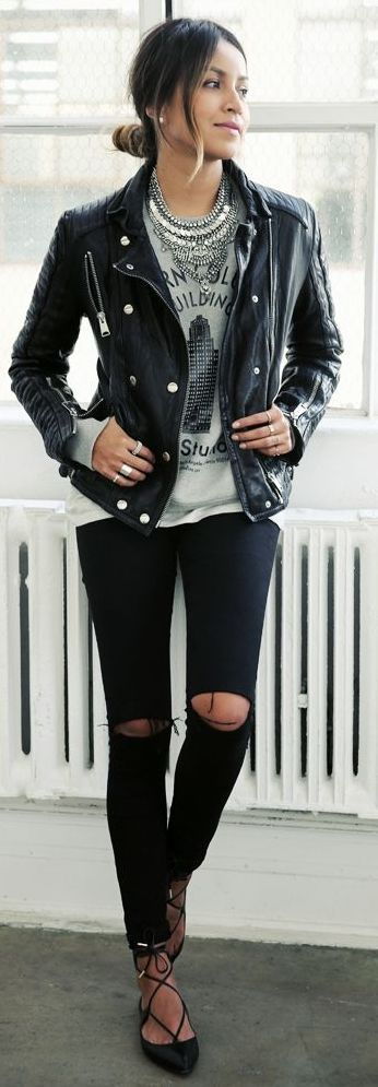 Black Leather Jacket, Graphic T-Shirt, Statement Necklace, Black Stappy Heels
