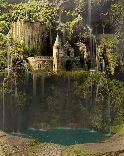 Waterfall castle. The enchanted forest. Poland