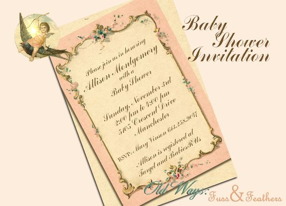 French Paper Vintage Baby Girl Shower Invitation in Pink - Printable Invite Custom DIY 4x6 Digital JPEG and PDF Files. $14.00, via Etsy - cheaper version of the other one