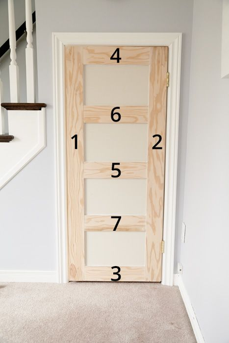 Take a plain slab door and turn it into a charming-yet-modern shaker door with some plywood, glue, nails, and paint.: