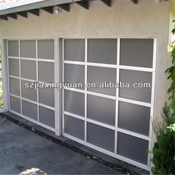 Transparent glass sectional automatic sliding garage door for Residential sliding doors