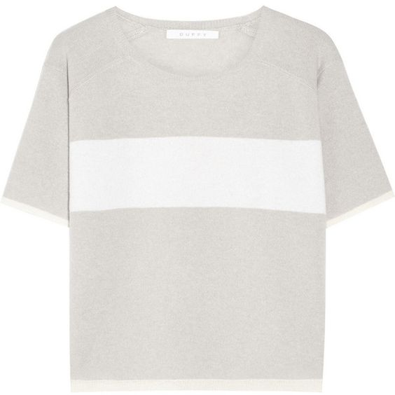 Duffy Striped cashmere top (185 AUD) ❤ liked on Polyvore featuring tops, t-shirts, shirts, tees, light gray, striped t shirt, striped shirt, cashmere tee, tee-shirt and t shirt