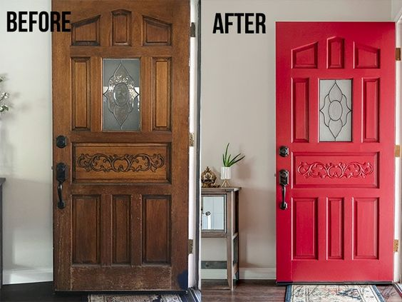 What a before and after! Front door makeover the lazy way! Easy DIY front door makeover without removing it from the hinges! Check out this amazing before and after! This easy DIY curb appeal project is quick and easy. #AnikasDIYLife #beforeandafter #frontdoor