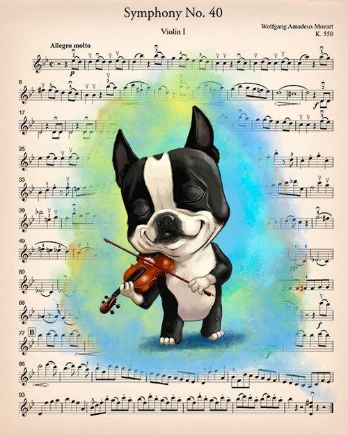 Boston Terrier Musician Boston Terrier Gifts Boston Terrier Etsy Boston Terrier Gift Boston Terrier Boston Terrier Lover