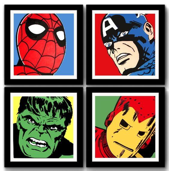 Kit 4 Quadros Marvel Comics Pop Art