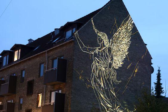 temporary light graffiti in copenhagen