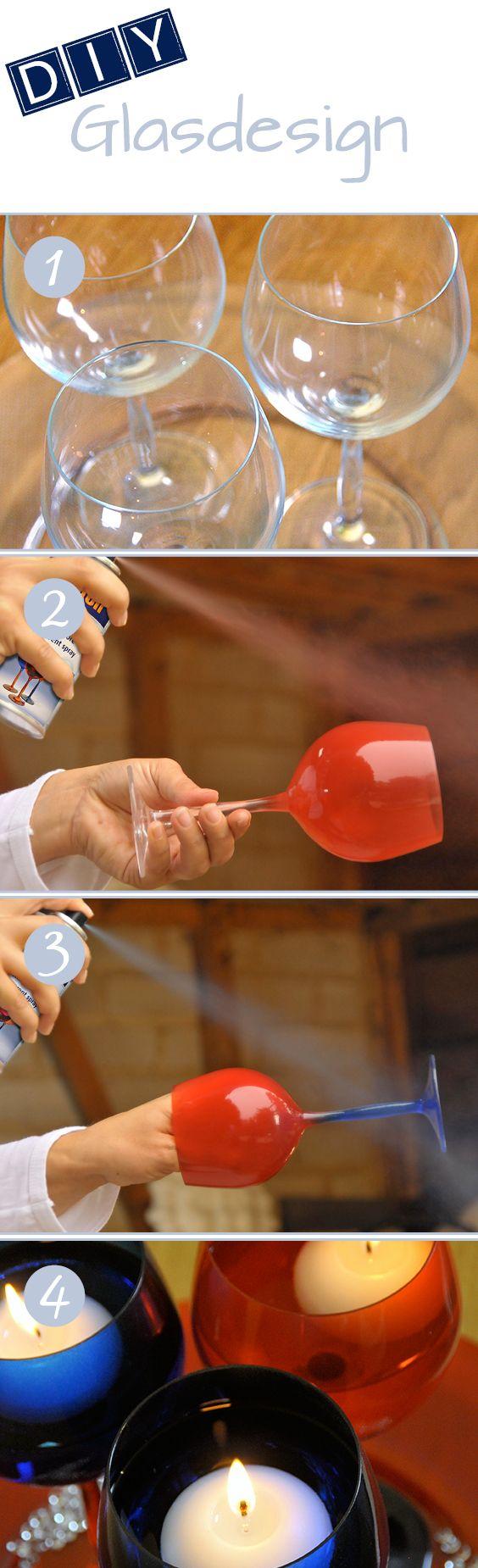 DIY Glasdesign: Mit belton Transparant-Spray günstig und schnell alte Weingläser im neuem Glanz. // DIY Glass design: Old wine glasses looks brand new with the convinient and easy belton transparent spray.