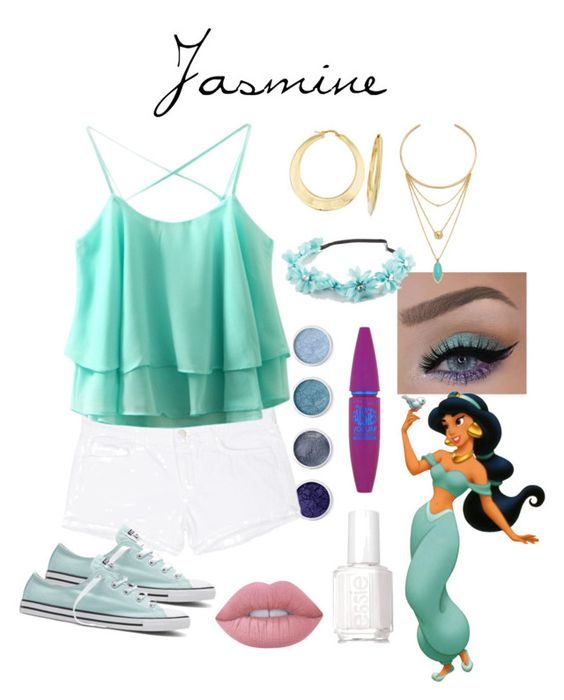 """Jasmine"" by disneyfreak04 on Polyvore featuring Terre Mère, J Brand, Disney, Converse, Ross-Simons, Jules Smith, Full Tilt, Essie, Maybelline and Lime Crime"