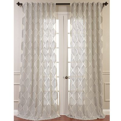 Half Price Drapes Dreamweaver Embroidered Sheer Single Curtain Panel