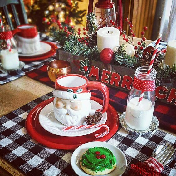 Cute Christmas table scape,  rustic christmas