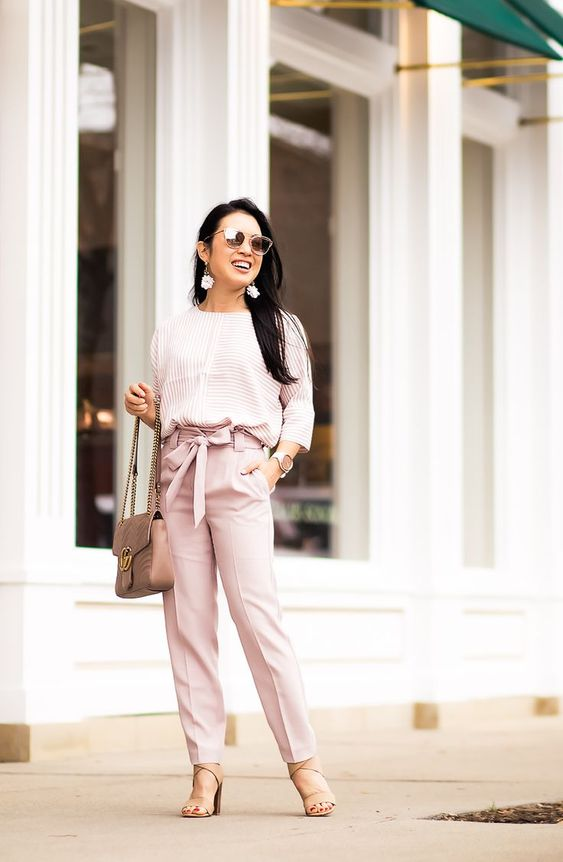 cute & little | dallas petite fashion blog | express striped cocoon top, express blush pink sash tie pants, nude strappy sandals | spring office work outfit - Blush Neutrals for Springtime Office Outfit by popular Dallas petite fashion blogger cute & litt