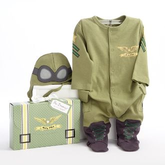 Perfect for the little airman in your life! Fasten your seatbelts! We're going from goggles to giggles when we take off for the adventurous baby who wears our Baby Pilot two-piece sleep set--a captivating outfit that earns its wings every time mom suits up baby for the night flight to tomorrow!