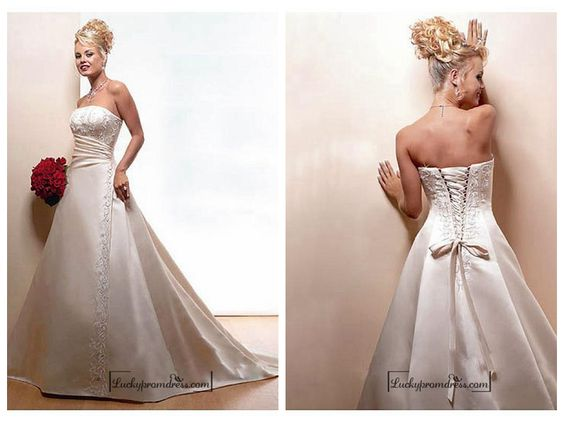 Beautiful Elegant Satin Ball Gown Sleeveless Wedding Dress In Great Handwork