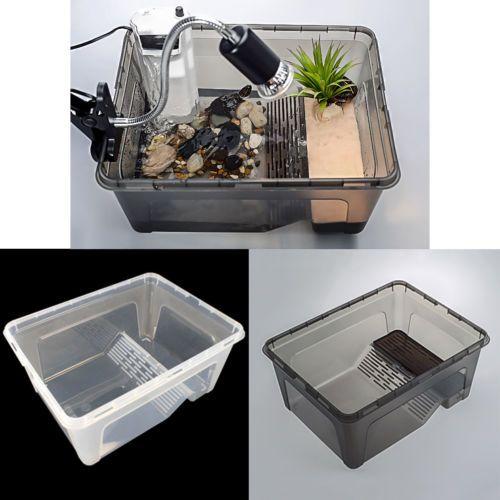 Transparent Plastic Box Insect Reptile Breeding Feeding Tub Turtle Tank Platform Turtle Tank Reptiles Turtle Habitat
