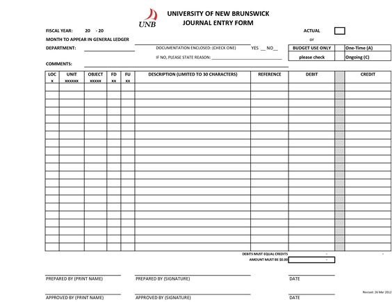 Blank+Journal+Entry+Form+Template Heng Seyha Pinterest - format of general ledger
