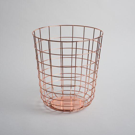 Sleek wire bin for the office, bedroom or bathroom | Designer: Norm Architects for Menu | #menuword #copper #interiordesign