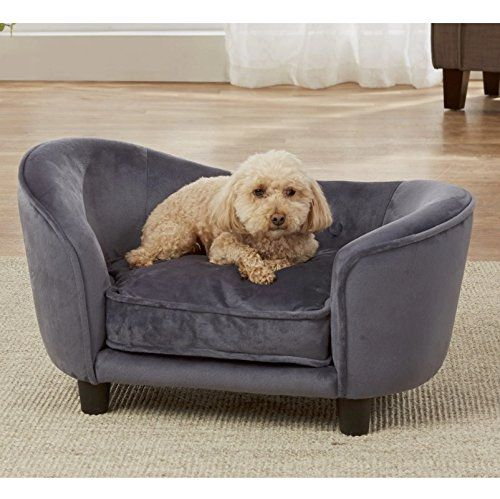 Dog Couch Bed Luxury Elevated Pet Sofa Deluxe Therapeutic Comfort In Dark Grey Best For Small Dogs With Removable Washable C Dog Couch Bed Pet Sofa Best Sofa