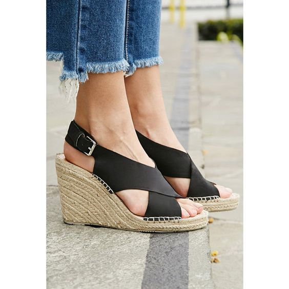 Forever 21 Dolce Vita Sovay Wedges ($56) ❤ liked on Polyvore featuring shoes, sandals, wedge espadrilles, high heel sandals, wedge sandals, platform shoes and high heel wedge sandals