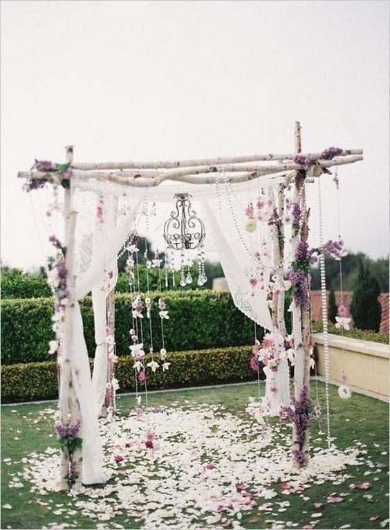 Rustic Birch Tree Wedding Arch. What a beautiful wedding arch decoration idea! Love it!: