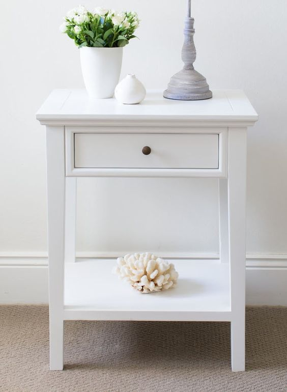 white bedside table 1 drawer and shelf lavender drawers and natasha o 39 keeffe. Black Bedroom Furniture Sets. Home Design Ideas
