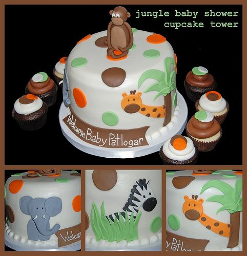 Orange, Green And Brown Jungle Themed Cupcake Tower For A